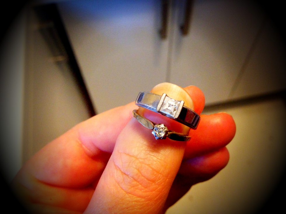 My ring (the square-ish one) and my Joanie's ring.